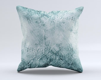 The Grungy Teal Wavy Abstract Surfaceink-Fuzed Decorative Throw Pillow