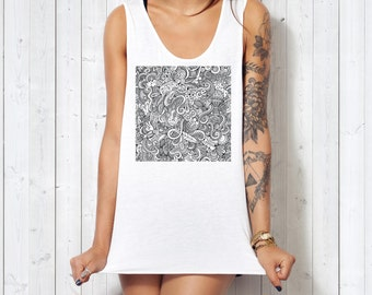 The Hippie Dippie Doodles ink-Fuzed Front Graphic Ladies-Fitted LightWeight Tank Top