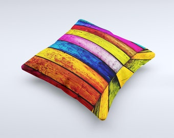 Neon Wood Color-Planks ink-Fuzed Decorative Throw Pillow