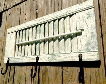 Bathroom Decor, Shutter Towel Rack, Shabby Chic, Forged Hooks, Chalk Paint, Farmhouse Decor, Chippy Paint, Upcycled, Recycled, Cottage Decor
