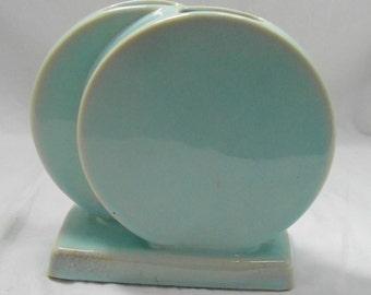 Trenton Pottery Vase -  Mid Century Modern - Light Blue -  5 x 3 x 5.75 inch