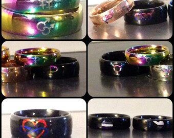 Stainless Steel Engraved LGBT Symbol Rings: Gay, Lesbian, Bisexual, Pansexual, Transgender, Asexual, Polyamory, Demisexual, or Custom!