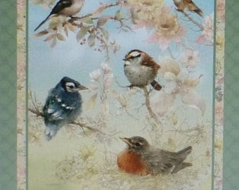 Garden Melodies~~Panel 24 x 44 Inches~Cotton Fabric,~ Birds~SPX Fabric~Fast Shipping N305