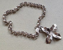 """Solid Sterling Silver 15.1g 5mm Rolo Chain & Blooming Flower Charm Bracelet 7.5"""""""