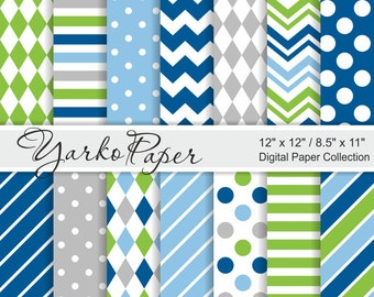Blue Green And Gray Digital Paper Pack, Grey,  12x12, 8.5x11, Chevron, Stripes, Dots, Geometric, 14 Sheets - Instant Download