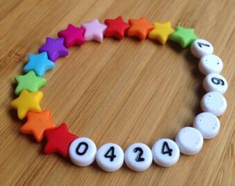 Phone Number ID Bracelet - emergency - find me fast - Rainbow Stars