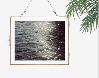 Bokeh photography 5x7 calm water ripple photo dark wall art 8x10 living room decor minimalist artwork wall art print modern home office art
