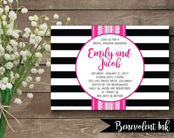 Printable Bridal Shower Invitation - Black White and Pink Wedding Shower Invite - Black and White Wedding