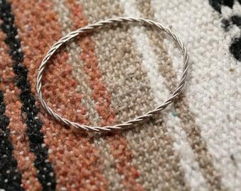 Lovely Vintage Judith Ripka Solid Sterling Silver Twisted Rope Bangle Bracelet