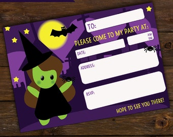 Kids Halloween invitations, instant download, halloween invites, halloween party, DIY,  witches,kawaii, kids party invite, prettyinker