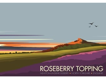 Roseberry Topping, North Yorkshire, England, UK - signed travel poster print