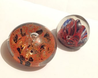 Vintage Italian And Czech Small Glass Paperweights, Retro Art Glass, Decorative Collectible Glassware
