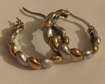 Vintage Sterling Silver And Gold Vermeil Hoop Earrings