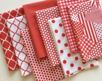 Half Yard Fabric Bundle 8 Red White 1/2 Yards 4 Yards Total