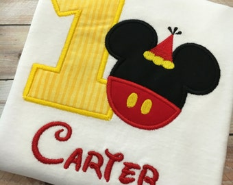1st , 2nd , or 3rd Mickey Mouse Embroidered T-Shirt or Bodysuit, Disney Birthday Outfit, Mickey Mouse Shirt or Onesie