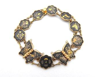 Bracelet Damascene Shakudo Vintage Japanese Bracelet