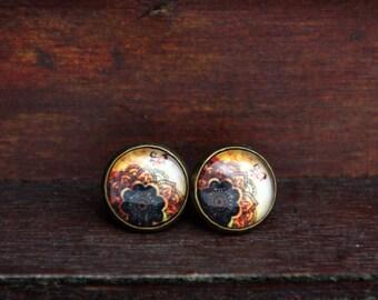 12 mm Stud Earrings, bronze; Tree of life