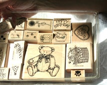 Retired Stampin Up STamp Set,Stampin Up Button Bear Rubber Stamp Set RARE Teddy bear Stamp, Bee Stamp All Occasion Stamp, Bear Christmas