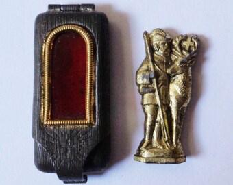 Rare Old Religious Pocket Shrine Miniature St. Hubert