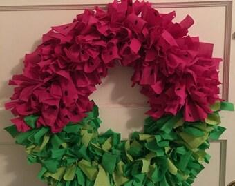 Watermellon Wreath, Wreath, Rag Wreath, Pink, Green