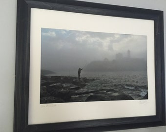 One Last Cast at the Nubble Lighthouse framed 16x20 print