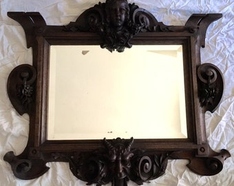 Carved Wood Renaissance Revival Mirror with Putti Gargoyle Flowers Scrolls