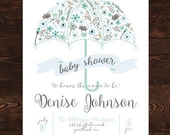 Printable Blue Floral Umbrella Baby Shower Invitation-Print Yourself-Digital Invite