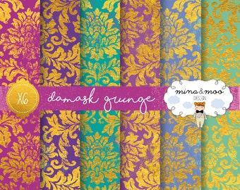 Gold Damask Digital Paper,Wedding DIY Digital,Grunge Paper,Distressed Scrapbooking Paper,Gold Foil,Distressed,Roller Texture,Textured Print