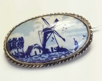 Vintage Dutch Painted Porcelain Delft Brooch Pin ~ Windmill ~