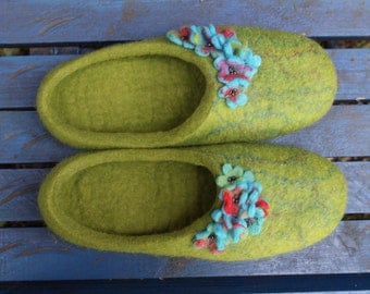 Felted wool slippers for women home shoes gift