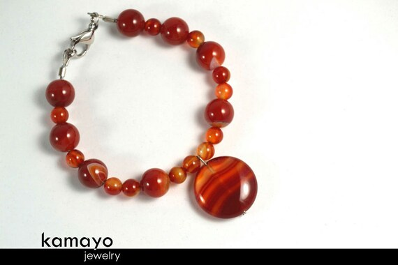RED AGATE BRACELET - Dark Red Agate Beads with Translucent Bands - Fits Wrist of Up to 6.1""