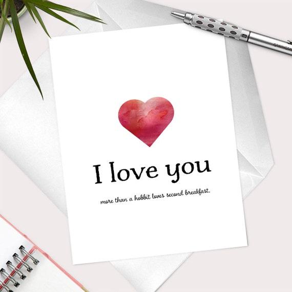Funny I Love You Card For Him I Love YouHobbit Loves