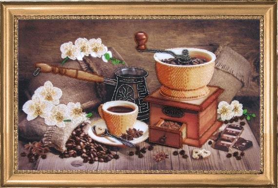 Turkish Coffee DIY bead embroidery kit Housewarming Gift beaded painting Coffee house decor idea