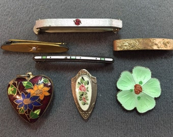 Vintage Brooches and Enameled Jewelry Parts-Free shipping