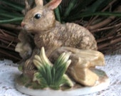 Mid Century Bisque Porcelain Brown Bunny Rabbit Figurine