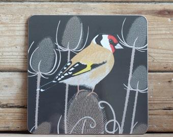 Goldfinch placemat & coaster set