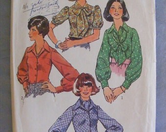 1974 Misses' Long / Short Sleeve Blouse Simplicity Sewing Pattern 6228 Size 14 Bust 36""