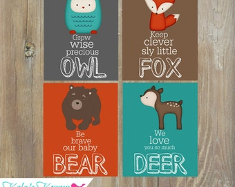 WOODLAND Nursery Art, Woodland Wall Art, Forest Animal Deer Squirrel Owl Raccoon Fox Boy Bedroom, Self Print, JPEG Files, Instant Download
