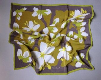 Crepe de Chine Silk Scarf   Blackthorn Blossom 60cm square
