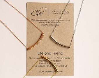 Best Friend Jewelry For Adults - Lifelong Friend - Appreciation Gift Ideas - Rose Gold Tube Necklace - Gold Curved Bar Necklace - BFF Girls