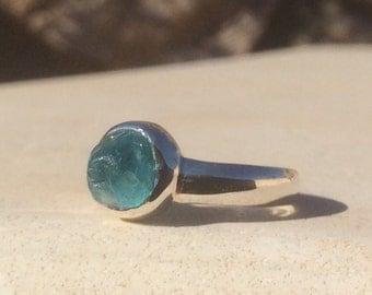 US 6, Raw Apatite Ring, Apatite Silver Ring, Rough Natural Gemstone Ring, Apatite Ring, Natural Gemstone Silver Ring