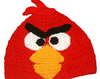 Red Angry Bird Inspired Hand Crocheted Hat  HH126
