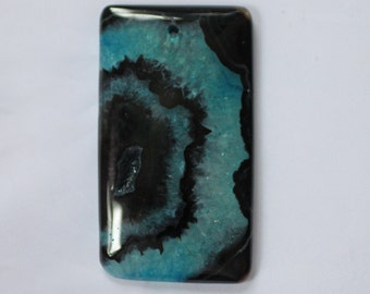 Blue and Black Banded Agate Gemstone Pendant - 32mm x 55mm