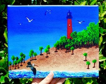 Jupiter Lighthouse Hand-signed Canvas Print