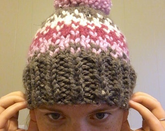 SALE. Ready to ship. Adult Winter Beanie. Knit-pink-brown-pompom-hat.