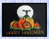 Lamb in the Pumpkin Patch, SHEEP, Original Cross Stitch Design, Chart, Instant PDF Download, From Scotland, Orange & Black, Glow in the Dark