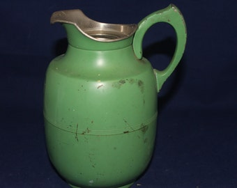 Vintage  HOTAKOLD Green Thermos Pitcher 1920s 1930s
