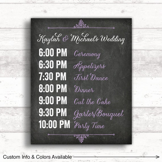 10 Times Rain Made A Wedding Even More Special: Print Or Canvas Wedding Timeline Sign Wedding Event Sign