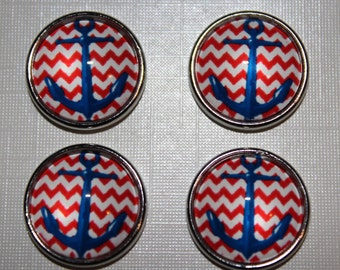 18MM Blue Anchor Red and White Chevron
