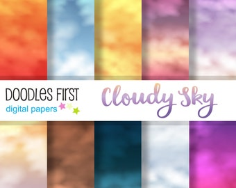 Cloudy Sky Digital Paper Pack Includes 10 for Scrapbooking Paper Crafts